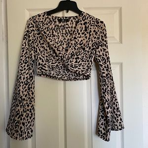 miss guided leopard print crop top